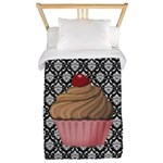 Pink Cupcake on Damask Twin Duvet