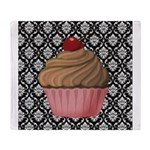 Pink Cupcake on Damask Throw Blanket