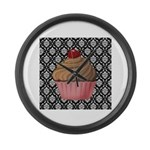 Pink Cupcake on Damask Large Wall Clock