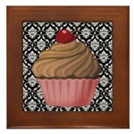 Pink Cupcake on Damask Framed Tile