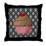 Pink Cupcake on Damask Throw Pillow