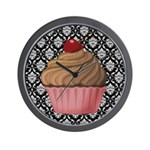 Pink Cupcake on Damask Wall Clock