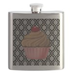 Pink Cupcake on Damask Flask