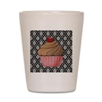 Pink Cupcake on Damask Shot Glass