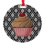 Pink Cupcake on Damask Ornament