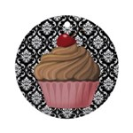 Pink Cupcake on Damask Ornament (Round)