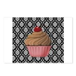 Pink Cupcake on Damask Postcards (Package of 8)