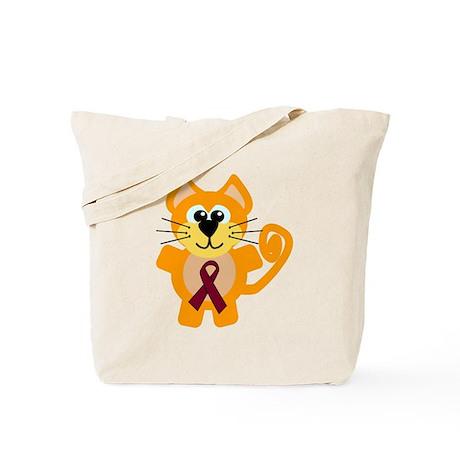 Burgundy Awareness Ribbon Kitty Cat Tote Bag