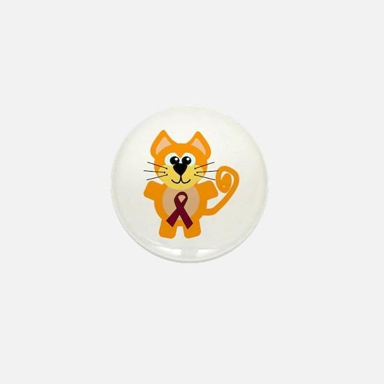 Burgundy Awareness Ribbon Kitty Cat Mini Button