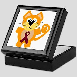 Burgundy Awareness Ribbon Kitty Cat Keepsake Box