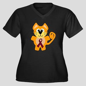 Burgundy Awareness Ribbon Kitty Cat Women's Plus S