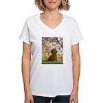 Spring / Dachshund Women's V-Neck T-Shirt