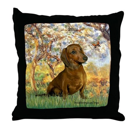 Spring / Dachshund Throw Pillow