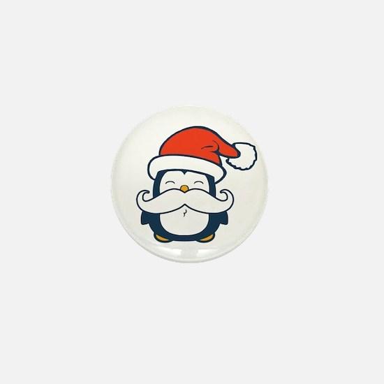 Christmas Penguin Mustache Trend Mini Button