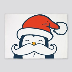 Christmas Penguin Mustache Trend 5'x7'Area Rug