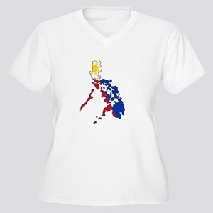 Philippine Flag and Map Decal Plus Size T-Shirt