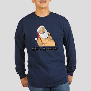 Santa Is Coming Men's Dark Long Sleeve T-Shirt