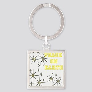 Stary Peace on Earth Square Keychain