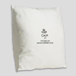 Keep calm by focusing on Germa Burlap Throw Pillow