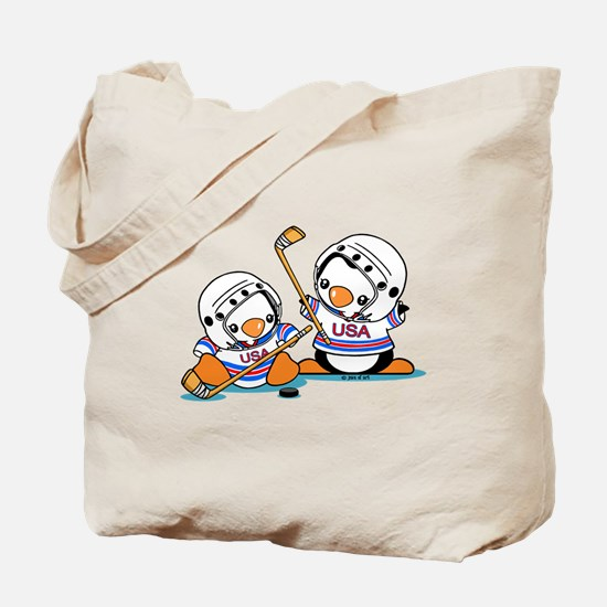 Ice Hockey Penguins Tote Bag