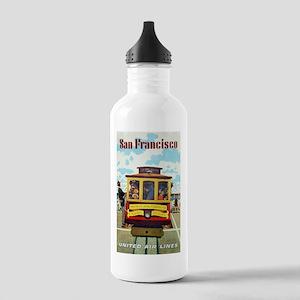San Francisco Trolley; Vintage Poster Water Bottle
