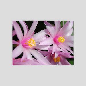 Pink Sunrise Cactuse Flower Close U 5'x7'Area Rug