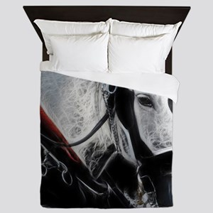 Portrait of a carriage Horse Queen Duvet