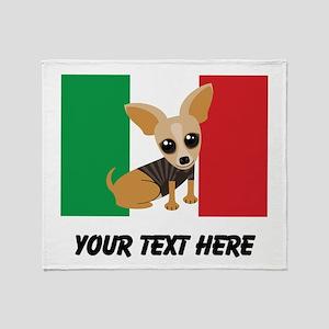 Chihuahua Dog Mexican Flag Cute Throw Blanket