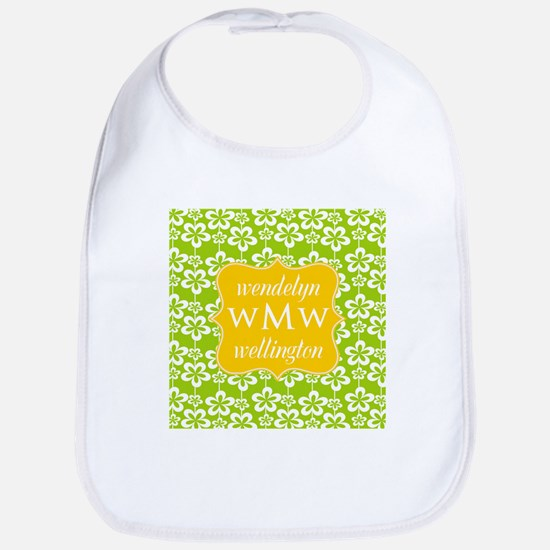 Lime Green and Yellow Floral Monogram Bib