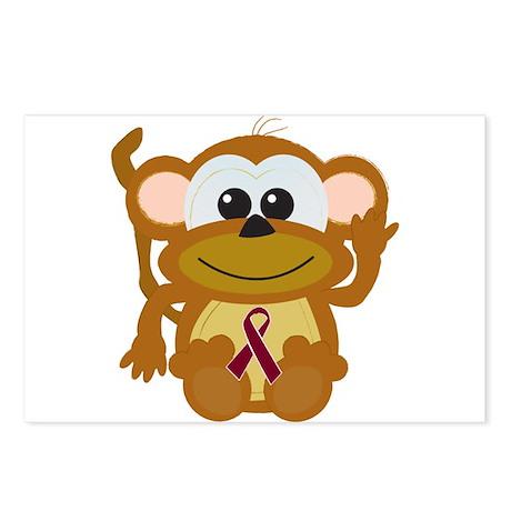 Burgundy Awareness Ribbon Monkey Postcards (Packag