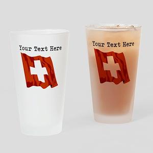 Custom Switzerland Flag Drinking Glass