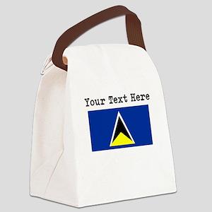 Custom St Lucia Flag Canvas Lunch Bag