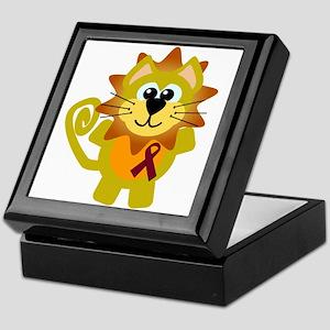 Burgundy Awareness Ribbon Lion Keepsake Box