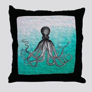 Ombre vintage nautical octopus waterc Throw Pillow