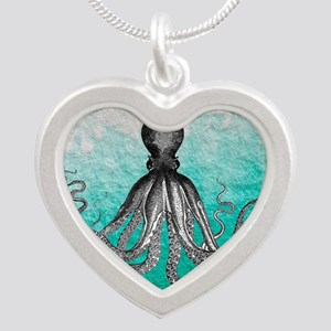 Ombre vintage nautical octop Silver Heart Necklace