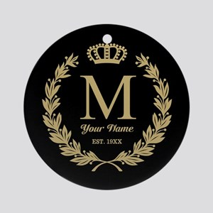 Monogrammed Wreath & Crown Ornament (Round)