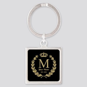 Monogrammed Wreath & Crown Square Keychain