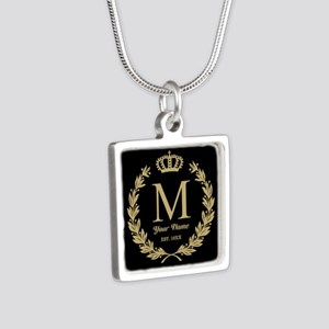 Monogrammed Wreath & Crown Silver Square Necklace