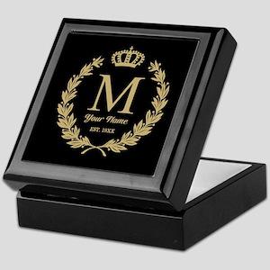 Monogrammed Wreath & Crown Keepsake Box
