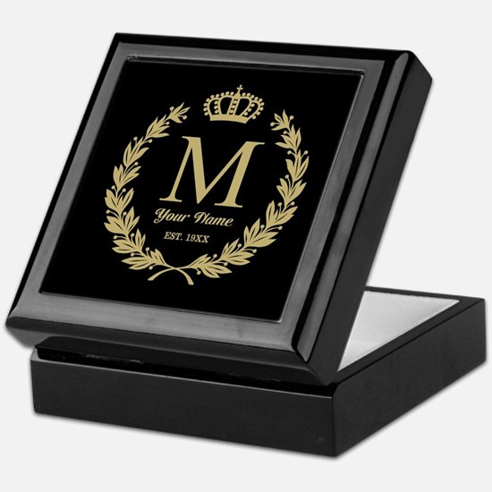 Monogrammed Wreath & Crown Keepsake Box