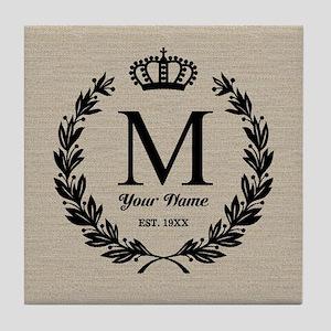 Monogrammed Wreath & Crown Tile Coaster