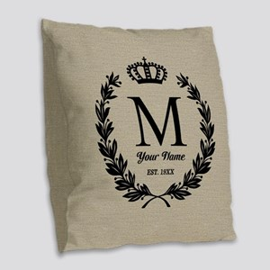 Monogrammed Wreath & Crown Burlap Throw Pillow