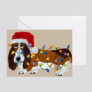 Basset Tangled In Christmas Lights Greeting Cards