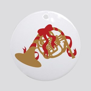 French Horn Christmas Ornament (Round)