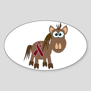 Burgundy Awareness Ribbon Pony Oval Sticker