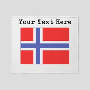 Custom Norway Flag Throw Blanket