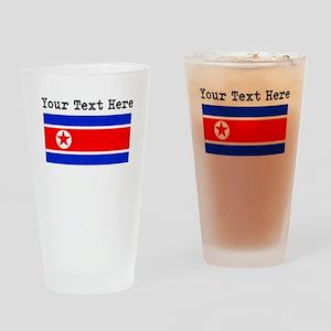 Custom North Korea Flag Drinking Glass