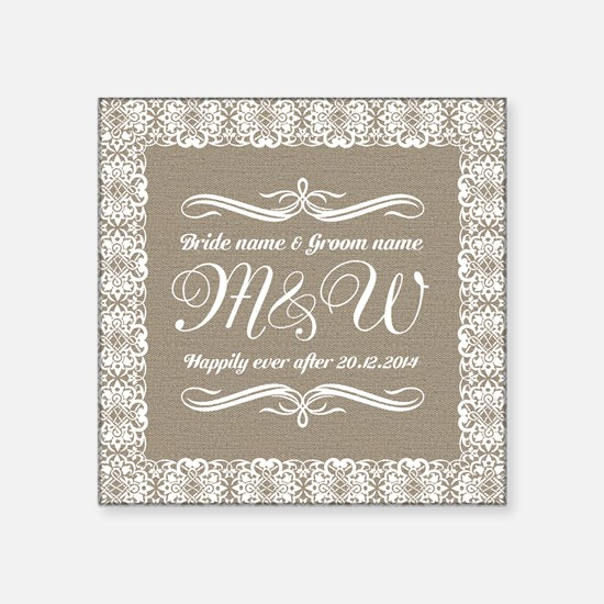 """Bride And Groom Monogrammed Square Sticker 3"""" x 3"""""""
