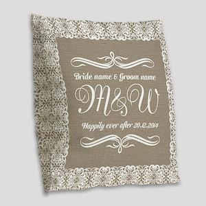 Bride And Groom Monogrammed Burlap Throw Pillow