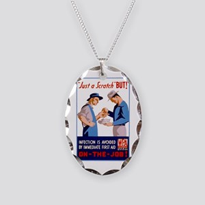 Just a Scratch Necklace Oval Charm
